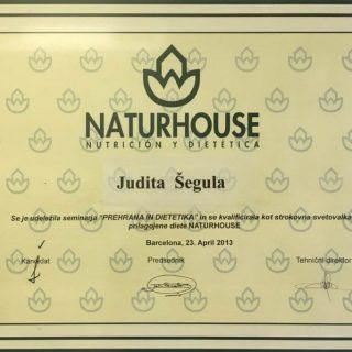 Certifikat za strokovno svetovalko prilagojene diete NATUREHOUSE
