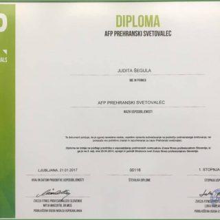 Diploma za AFP prehranskega svetovalca